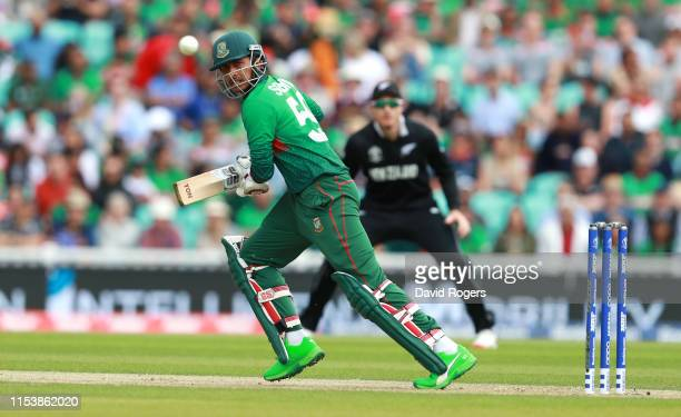 Soumya Sarkar of Bangladesh steers the ball to the boundary during the Group Stage match of the ICC Cricket World Cup 2019 between Bangladesh and New...