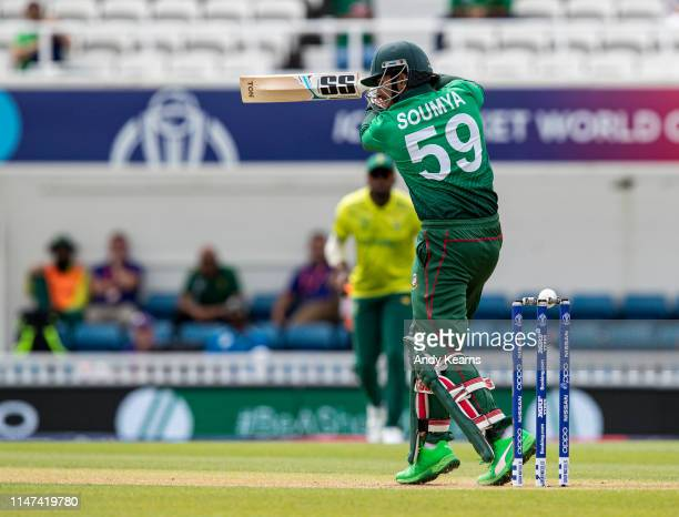 Soumya Sarkar of Bangladesh survives a near miss during the Group Stage match of the ICC Cricket World Cup 2019 between South Africa and Bangladesh...