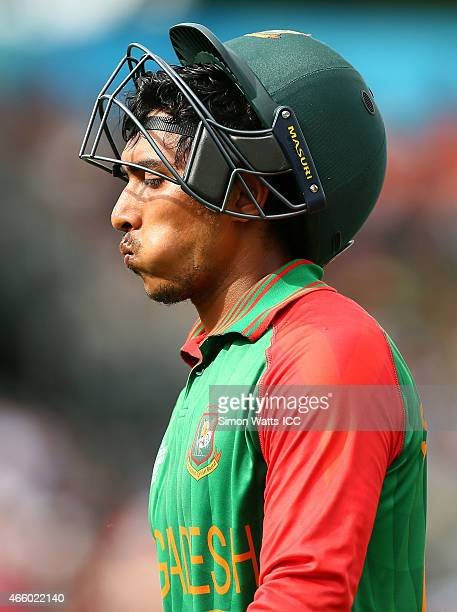 Soumya Sarkar of Bangladesh walks off after being dismissed during the 2015 ICC Cricket World Cup match between Bangladesh and New Zealand at Seddon...