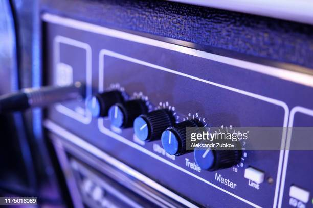 sound amplifier close-up, audio system. sound concert equipment. - amplifier stock pictures, royalty-free photos & images