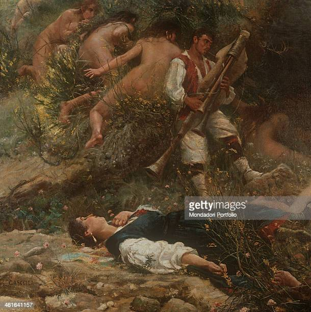 Sound and Sleep by Basilio Cascella 20th Century olio su tela Italy Abruzzo Chieti Palace of the Prefecture Whole artwork view The two mythical...