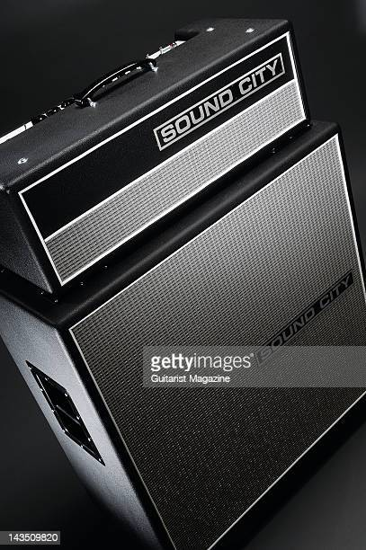 A Sound City SC50H electric guitar amplifier head unit and SC412 speaker cabinet during a studio shoot for Guitarist Magazine March 5 2008
