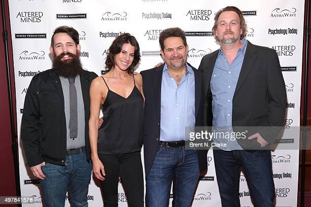 Sound designer Matt Davies singer/songwriter Erin Sax director Michael Z Wechsler and sound designer Kevin Smith attend the New York premiere of...