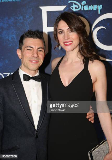 Sound Designer Peter Hylenski and wife Suzanne Hylenski pose at the opening night after party for Disney's new hit musical Frozen on Broadway at...