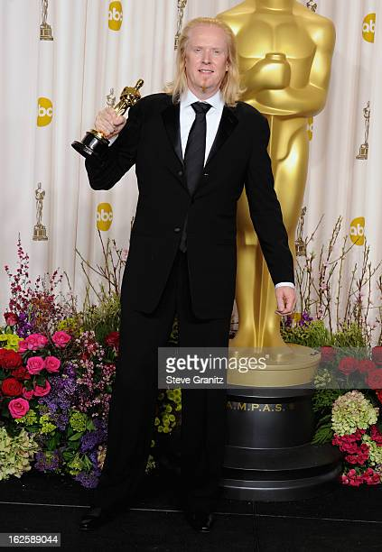 Sound Editor Paul N.J. Ottosson poses in the press room during the Oscars at the Loews Hollywood Hotel on February 24, 2013 in Hollywood, California.