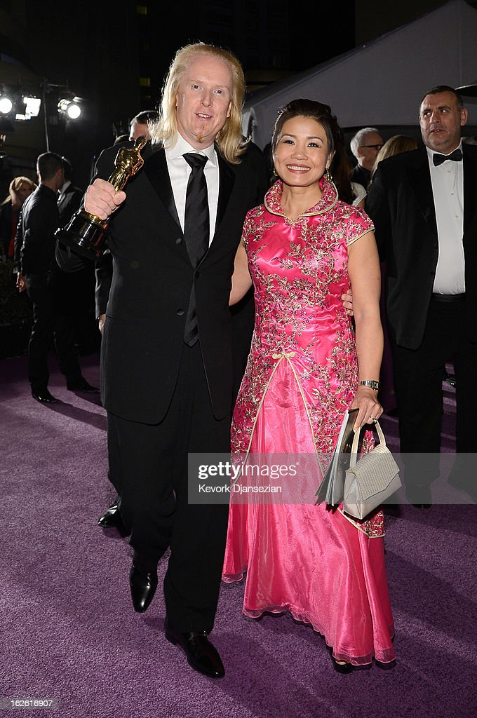 Sound editor Paul N.J. Ottosson (L) , winner of the Best Sound Editing award for 'Zero Dark Thirty,' attends the Oscars Governors Ball at Hollywood & Highland Center on February 24, 2013 in Hollywood, California.