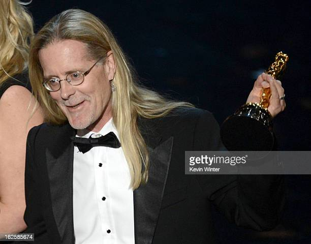 Sound editor Per Hallberg accepts the Best Sound Editing award for 'Skyfall' onstage during the Oscars held at the Dolby Theatre on February 24 2013...