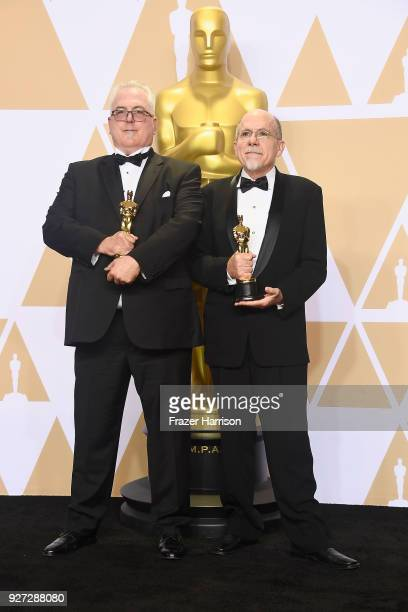 Sound editors Alex Gibson and Richard King winners of the Best Sound Editing award for 'Dunkirk' pose in the press room during the 90th Annual...