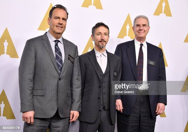 Sound Editors Christopher Scarabosio Stuart Wilson and David Parker attend the 89th Annual Academy Awards Nominee Luncheon at The Beverly Hilton...