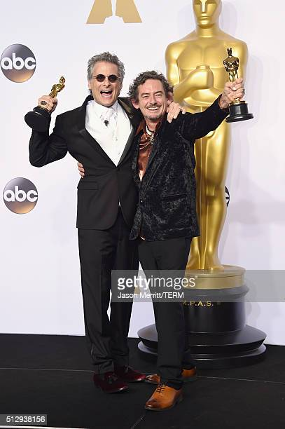 Sound editors David White and Mark A Mangini winners of the Best Sound Editing award for 'Mad Max Fury Road' pose in the press room during the 88th...