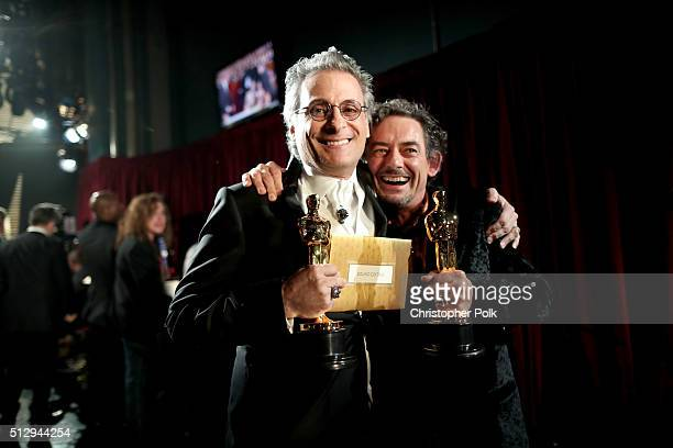 Sound editors Mark A. Mangini and David White winners of the Best Sound Editing award for 'Mad Max: Fury Road' backstage at the 88th Annual Academy...