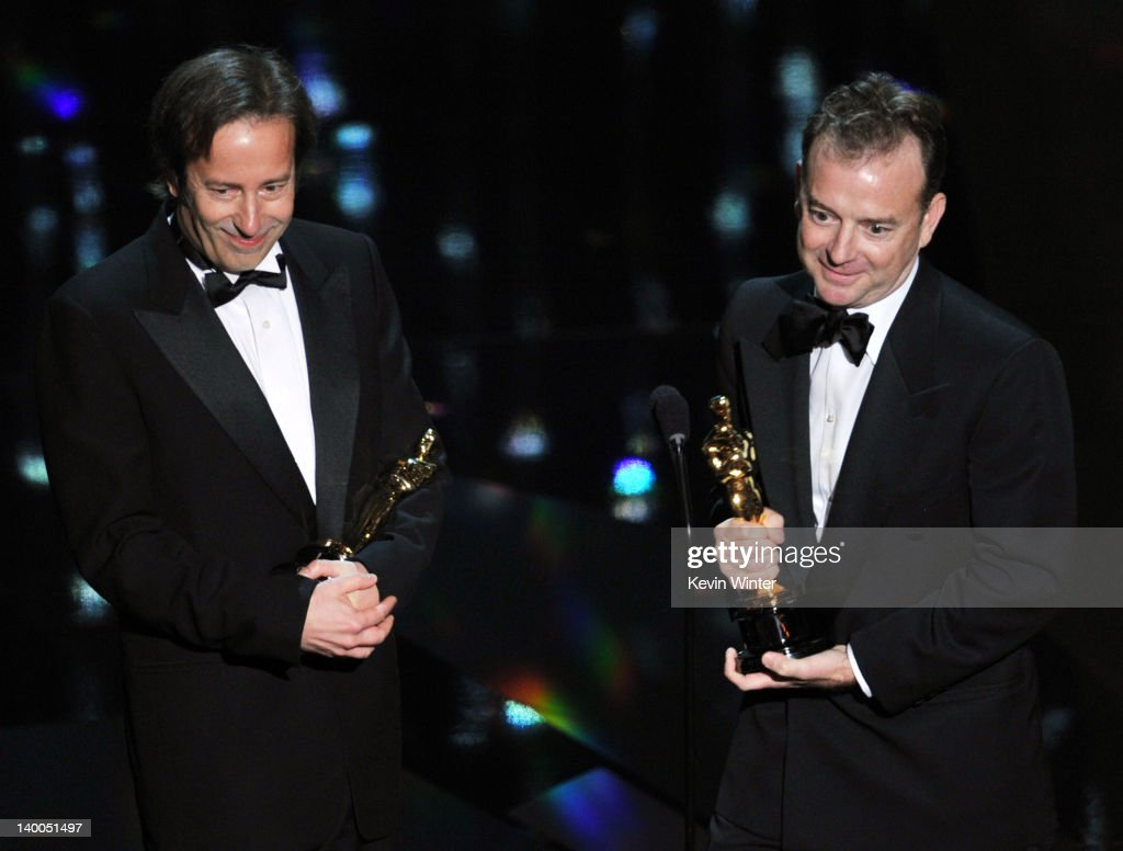Sound editors Philip Stockton (L) and Eugene Gearty accept the Best Sound Editing Award for 'Hugo,' onstage during the 84th Annual Academy Awards held at the Hollywood & Highland Center on February 26, 2012 in Hollywood, California.