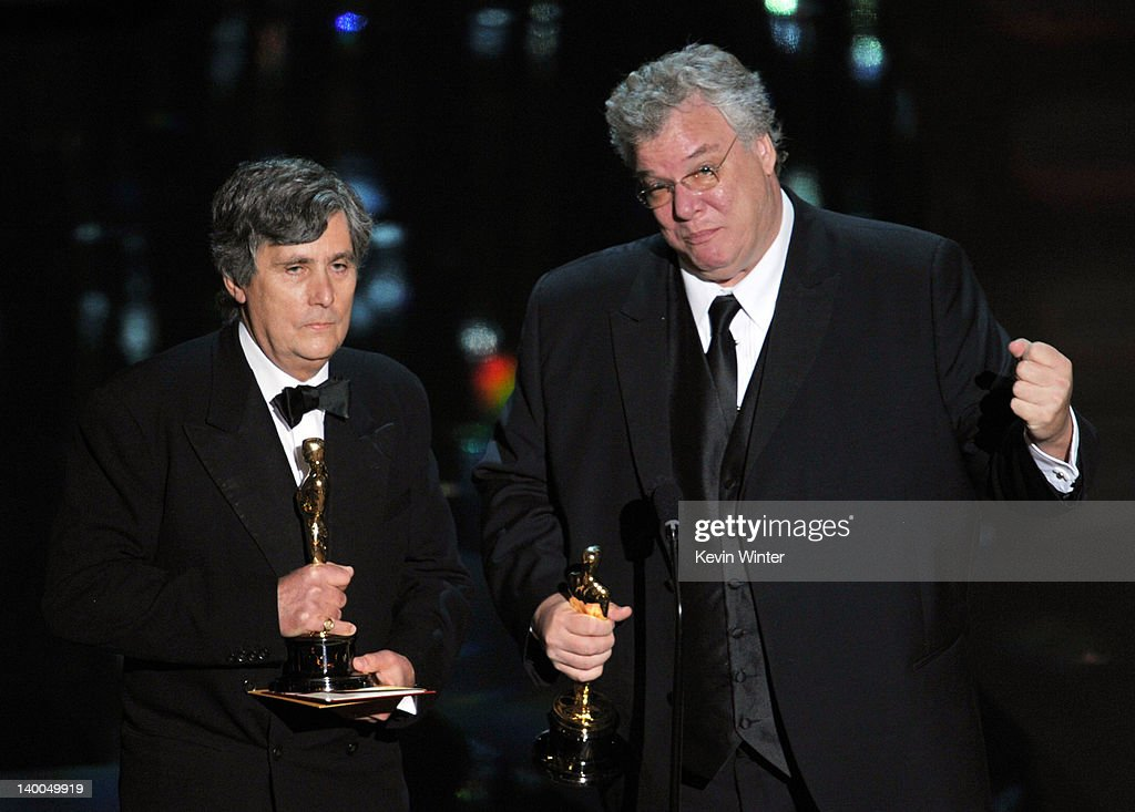 Sound engineers John Midgley (L) and Tom Fleischman accept the Best Sound Mixing Award for 'Hugo,' onstage during the 84th Annual Academy Awards held at the Hollywood & Highland Center on February 26, 2012 in Hollywood, California.