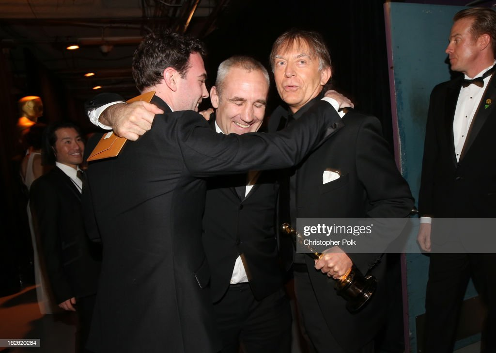 Sound engineers Simon Hayes, Andy Nelson and Mark Paterson , winners of the Best Sound Mixing award for 'Les Miserables,' backstage during the Oscars held at the Dolby Theatre on February 24, 2013 in Hollywood, California.