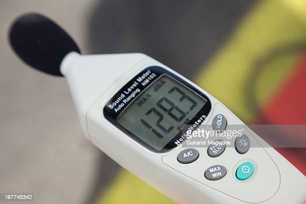 A sound level meter used to measure the dB's of noise created by a drag racing car at Santa Pod Raceway August 31 2012