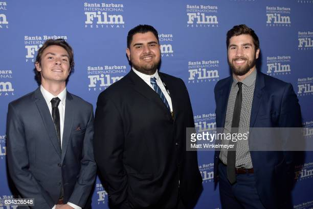 Sound mixer Chris Carcher producer Oscar Gutierrez cinematographer Michael McSpadden of 'Working Class Heroes' attend the Montecito Award during the...