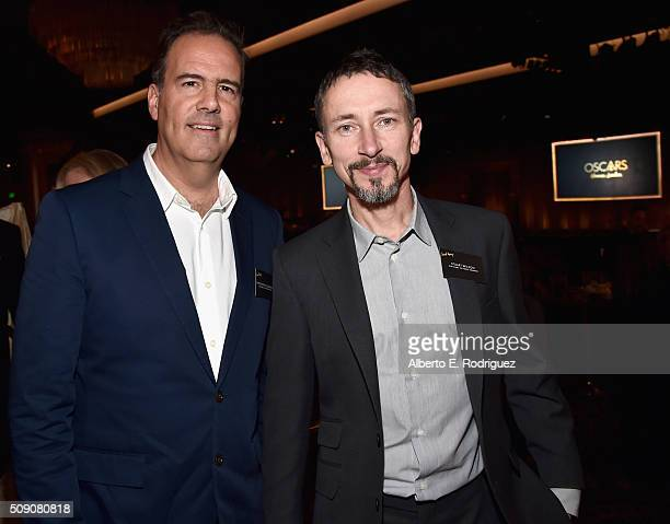 Sound mixers Christopher Scarabosio and Stuart Wilson attend the 88th Annual Academy Awards nominee luncheon on February 8 2016 in Beverly Hills...