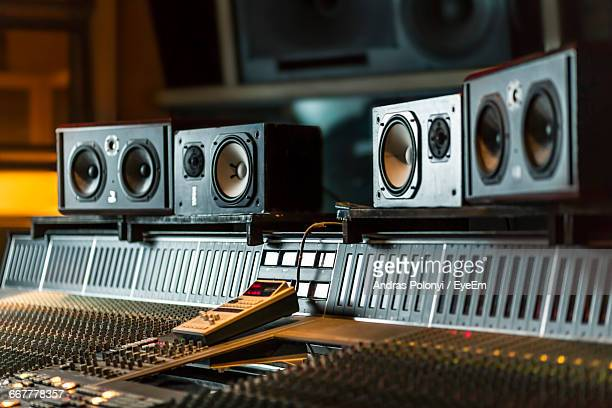 sound recording equipment in studio - recording studio stock pictures, royalty-free photos & images