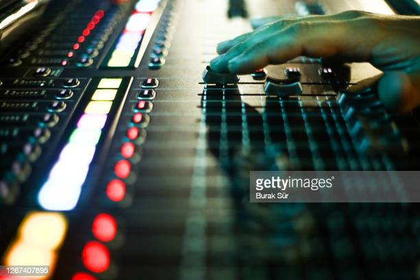 sound system control panel and music panel with dj set - producer stock pictures, royalty-free photos & images