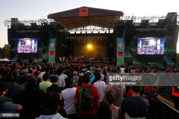 LCD sound system perform during the first day of Lollapalooza Chile 2018 at Parque O'Higgins on March 16 2018 in Santiago Chile