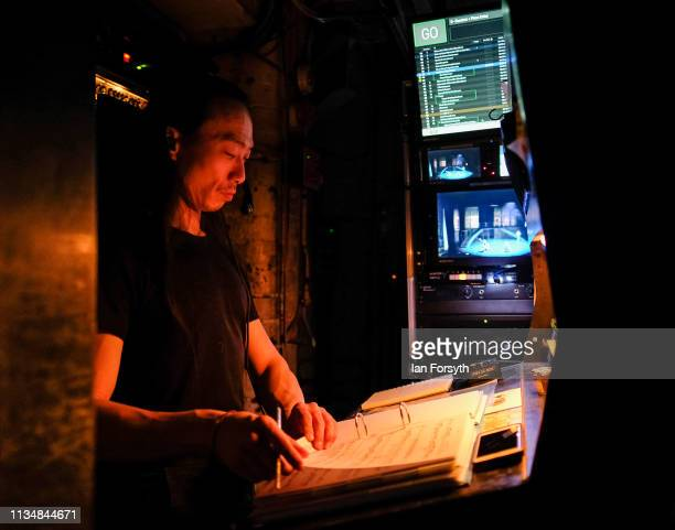 A sound technician works back stage during the World Premier of Northern Ballet's performance of 'Victoria' at Leeds Grand Theatre on March 09 2019...