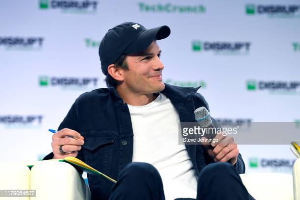 Sound Ventures Co-Founder Ashton Kutcher speaks onstage during TechCrunch Disrupt San Francisco 2019 at Moscone Convention Center on October 04, 2019...