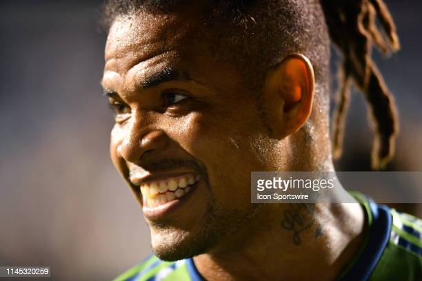 Sounders Defender Roman Torres answers questions in a postgame interview after the game between the Seattle Sounders and Philadelphia Union on May 18...
