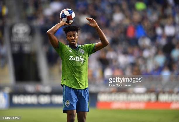 Sounders Defender Saad AbdulSalaam readies for a throwin in the first half during the game between the Seattle Sounders and Philadelphia Union on May...