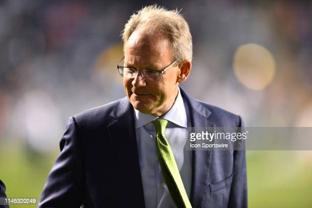 Sounders Head Coach Brian Schmetzer walks off the field after the first half during the game between the Seattle Sounders and Philadelphia Union on...