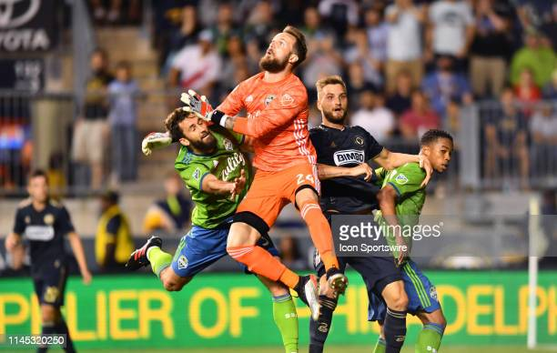 Sounders Keeper Stefan Frei collides with Sounders Defender Jonathan Campbell in the second half during the game between the Seattle Sounders and...