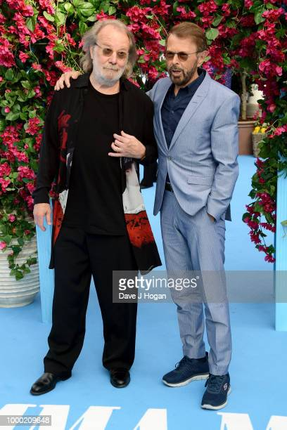Soundtrack and executive producers Benny Andersson and Bjorn Ulvaeus attend the UK Premiere of Mamma Mia Here We Go Again at Eventim Apollo on July...