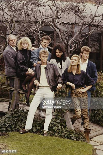 Soundtrack composer John Barry with Norwegian pop group Aha and three Bond Girls at a shoot to promote the James Bond film 'The Living Daylights' for...