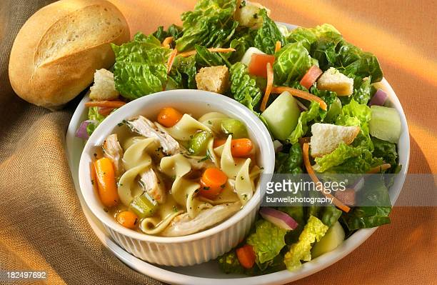 soup and salad - soup stock pictures, royalty-free photos & images