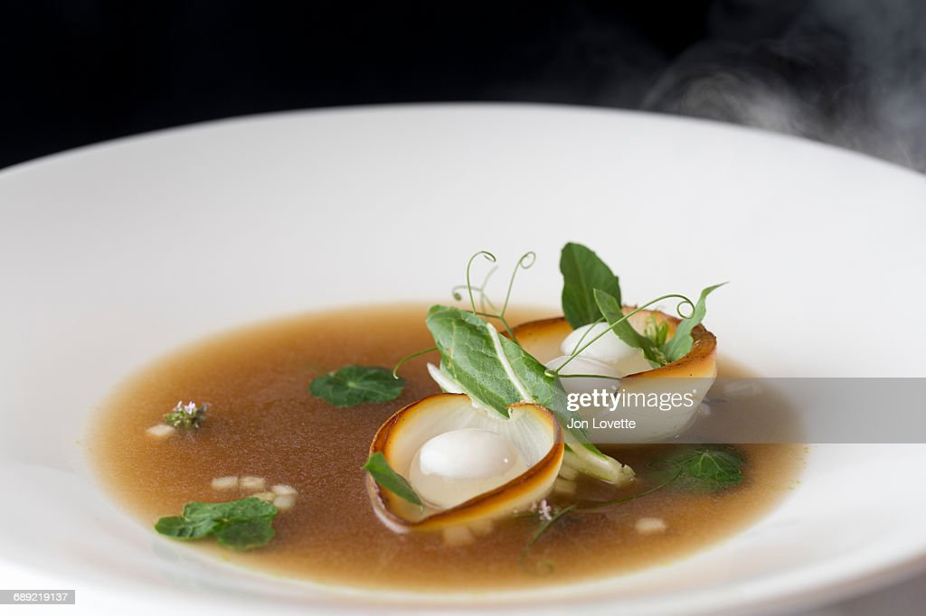 Soup at French Restaurant : Stock Photo