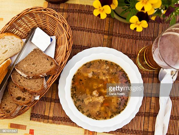 soup, bread, & beer on table, overhead view. - poland stock pictures, royalty-free photos & images