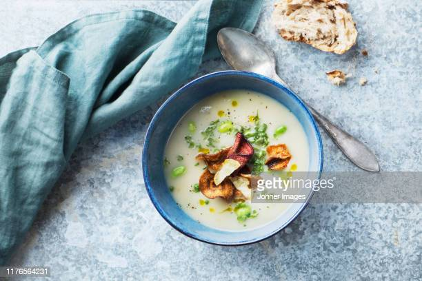 soup in bowl - dish towel stock pictures, royalty-free photos & images