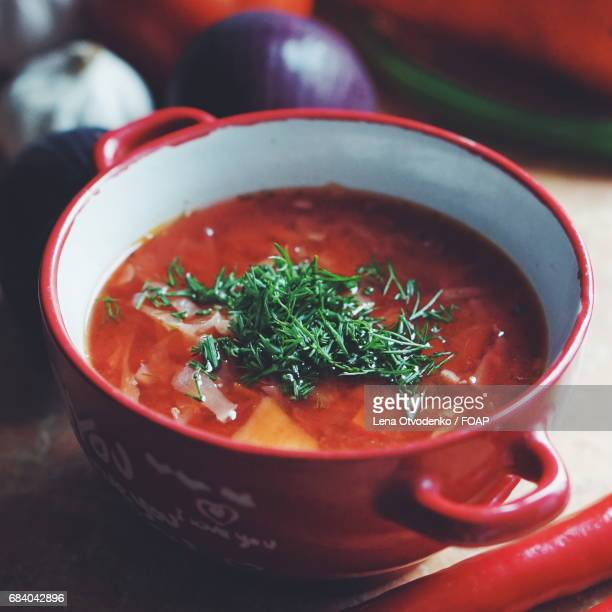 Soup in the red bowl