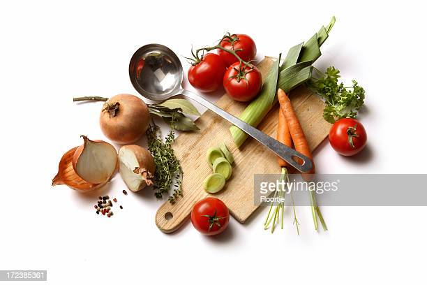 soup ingredients: vegetable - vegetable soup stock pictures, royalty-free photos & images