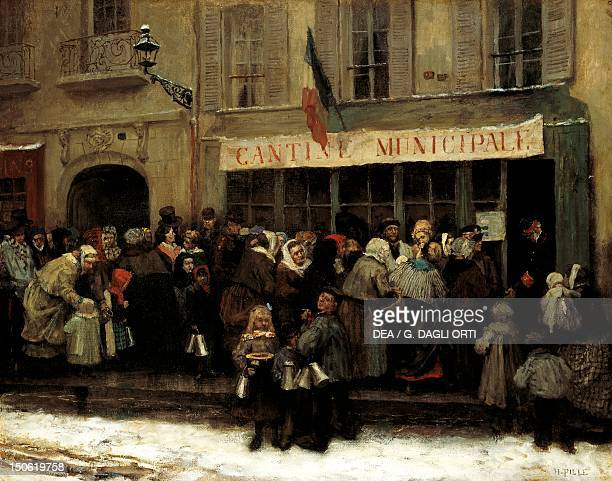 Soup kitchen during the siege of Paris in 1870, by Charles Henri Pille . Franco-Prussian War, France, 19th century.