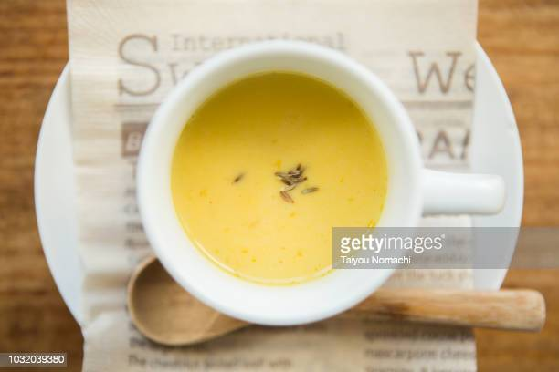 Soup made with vegan material