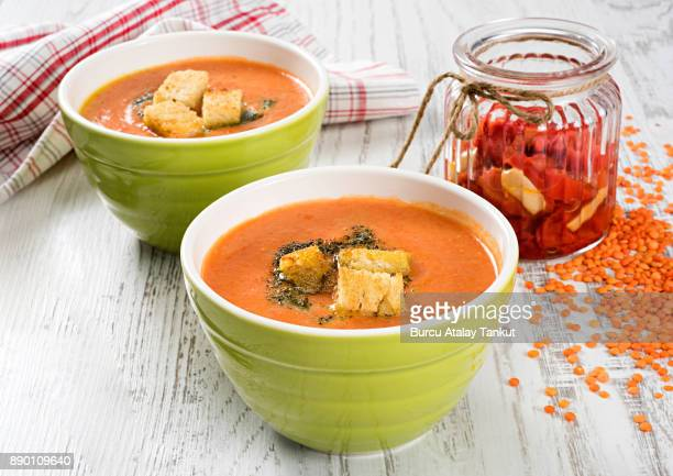 soup - crouton stock photos and pictures