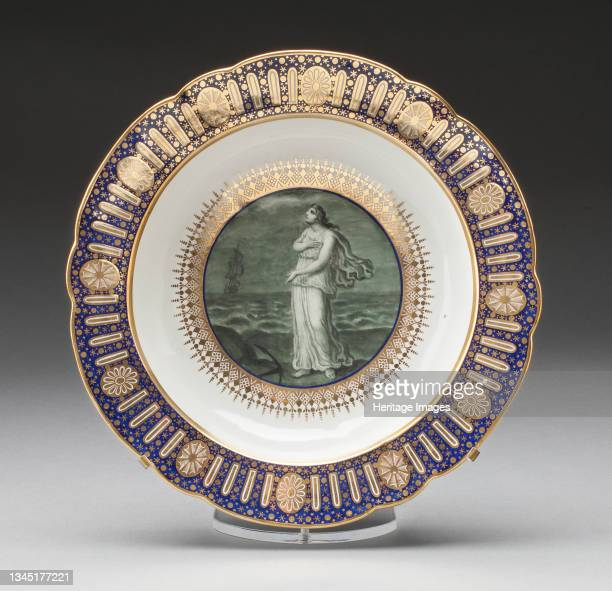 """Soup Plate from the """"Hope Service"""" Made for the Duke of Clarence, Worcester, circa 1792. Artist Royal Worcester."""