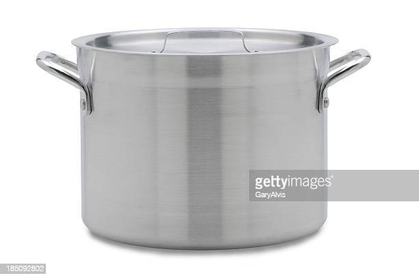 soup pot with clipping path - cooking pan stock pictures, royalty-free photos & images