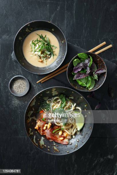 soup with crab and authentic pho beef noodle soup. vietnamese traditional food - pho soup stock pictures, royalty-free photos & images