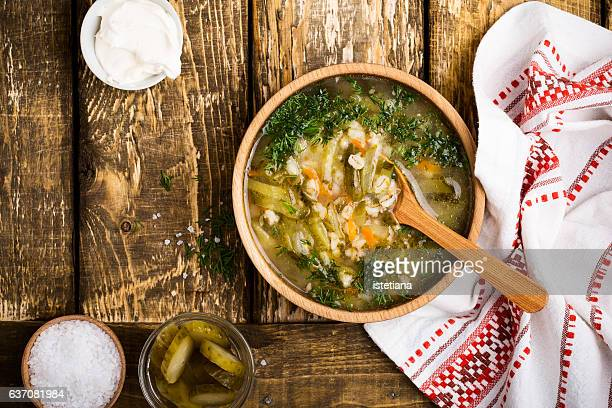 Soup with sour pickles and barley. Ukrainian cuisine