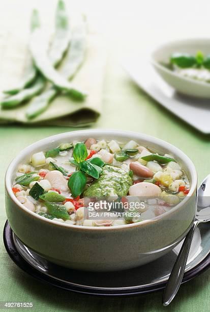 Soupe au pistou, vegetable soup with basil sauce, Provence, France.