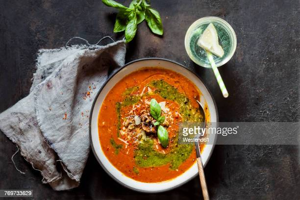 soupe made of roasted bell pepper with walnuts and pesto - roasted pepper stock photos and pictures