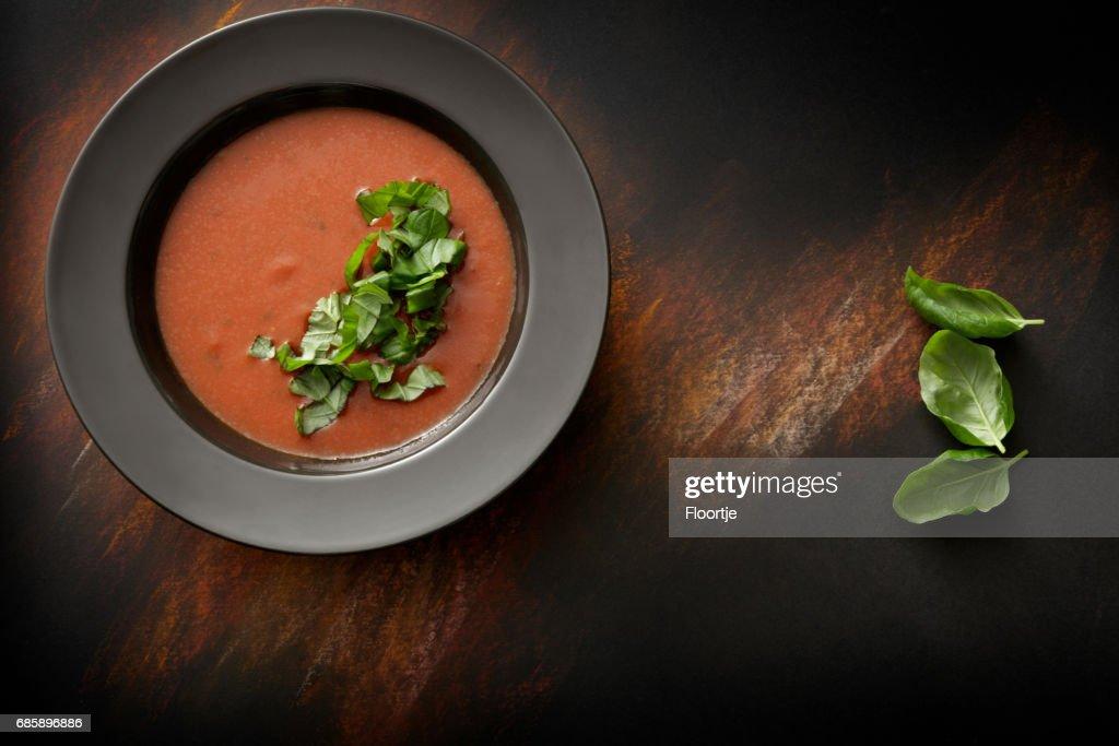 Suppen: Tomaten Suppe Stillleben : Stock-Foto