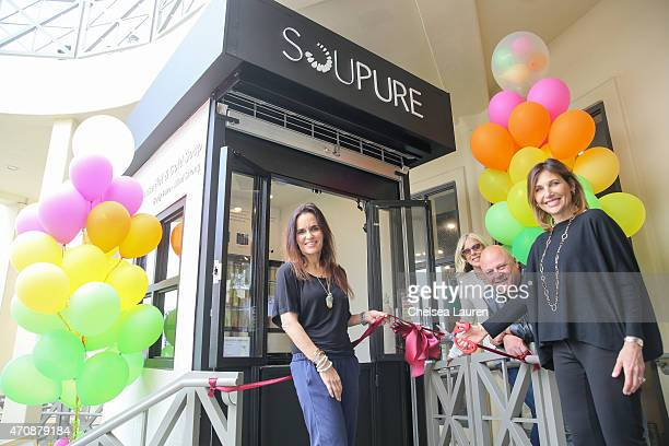 Soupure cofounder Vivienne Vella Michelle Chiklis actor / Soupure investor Michael Chiklis and Soupure cofounder Angela Blatteis cut the ribbon...