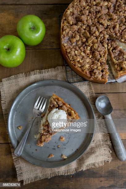 Sour Cream Apple Pie on Tin Plate